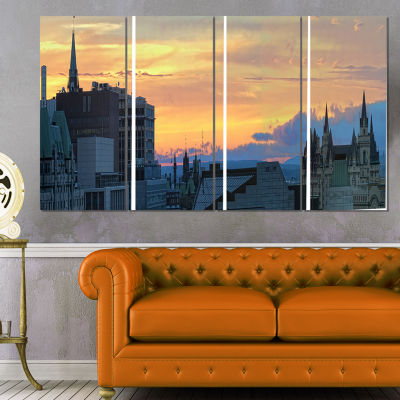 Ottawa City Panoramic Cityscape Photo Canvas Print- 4 Panels