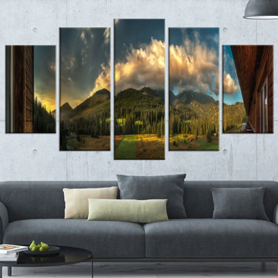 Designart Outside View From Hotel Room Landscape Wrapped Canvas Art Print - 5 Panels