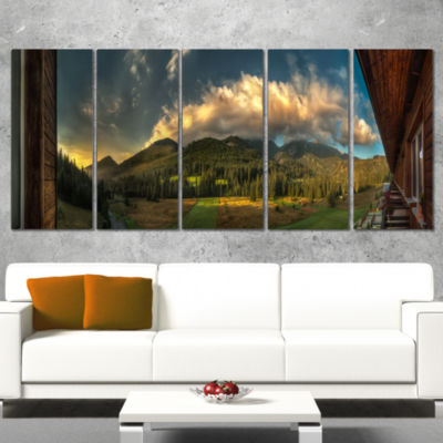 Outside View From Hotel Room Landscape Canvas ArtPrint - 5 Panels