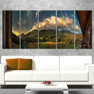 Designart Outside View From Hotel Room Landscape Canvas ArtPrint - 5 Panels