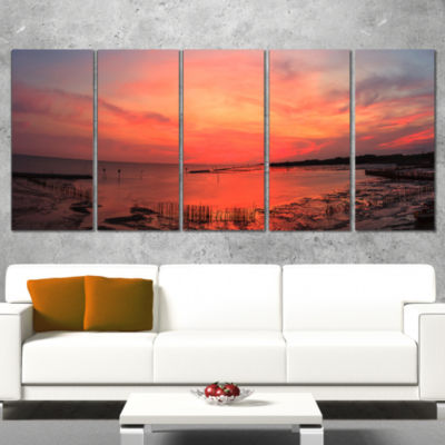 Designart Outstanding Panorama of Sunset in Sea Extra LargeSeascape Art Canvas - 5 Panels