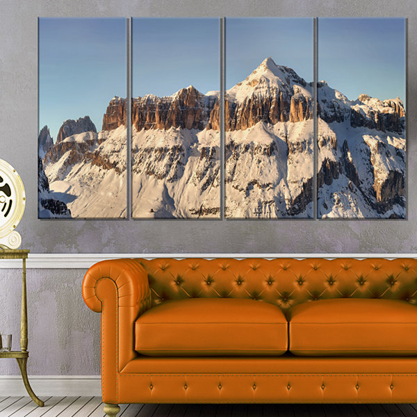 Designart Overcast Sky Over Italian Alps LandscapePrint Wall Artwork - 4 Panels