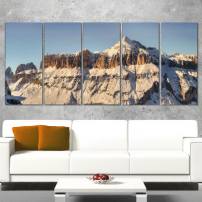 Designart Overcast Sky Over Italian Alps LandscapePrint Wall Artwork - 5 Panels