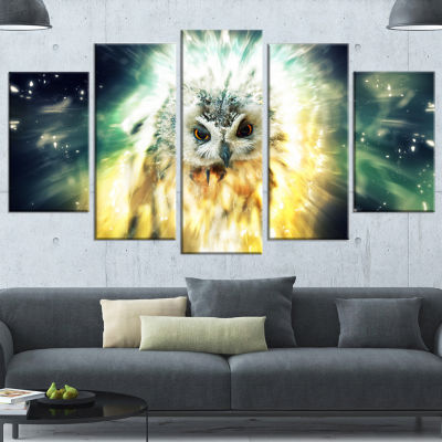 Owl Over Colorful Abstract Image Animal Wrapped Canvas Wrapped Art - 5 Panels