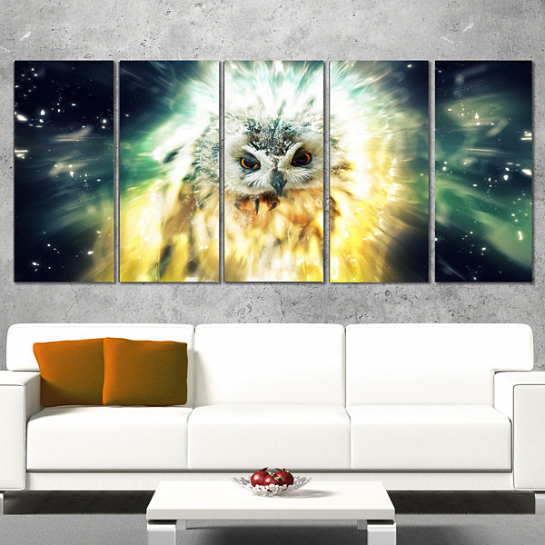 Designart Owl Over Colorful Abstract Image AnimalWrapped Canvas Wrapped Art - 5 Panels