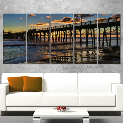Designart Pacific Ocean Sunset Oceanside Pier Modern Seascape Canvas Artwork - 4 Panels