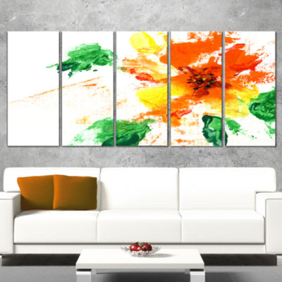 Designart Painted Abstract Flower Floral Art Canvas Print -4 Panels