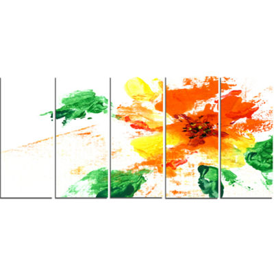 Designart Painted Abstract Flower Floral Art Canvas Print -5 Panels