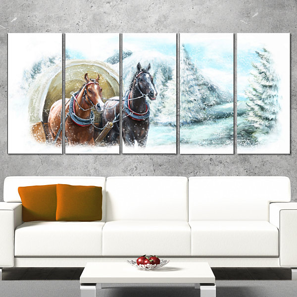 Designart Painted Scene With Horses in Winter Landscape Canvas Art Print - 5 Panels