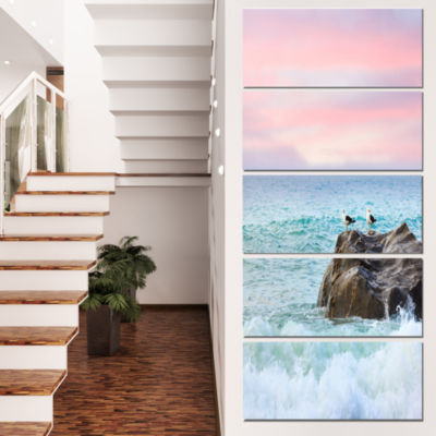 Pair of Seagulls on Large Rock Seascape Canvas ArtPrint - 5 Panels