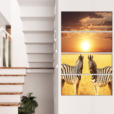 Pair of Zebras in Field At Sunset Extra Large African Canvas Art Print - 4 Panels