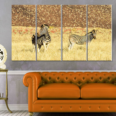 Designart Pair of Zebras in Namib Desert Animal Canvas Art Print - 4 Panels