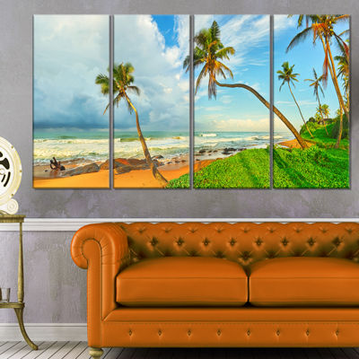 Designart Palm Trees Over The Beach Sri Lanka Modern Seascape Canvas Artwork - 4 Panels