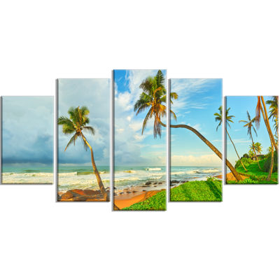 Designart Palm Trees Over The Beach Sri Lanka Modern Seascape Wrapped Canvas Artwork - 5 Panels