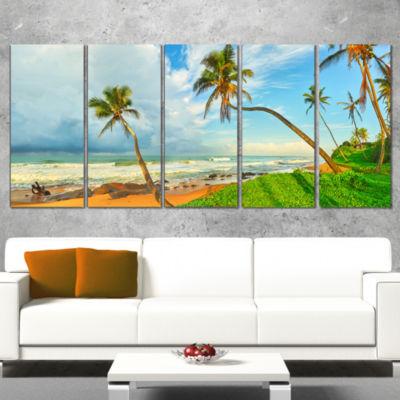 Designart Palm Trees Over The Beach Sri Lanka Modern Seascape Canvas Artwork - 5 Panels