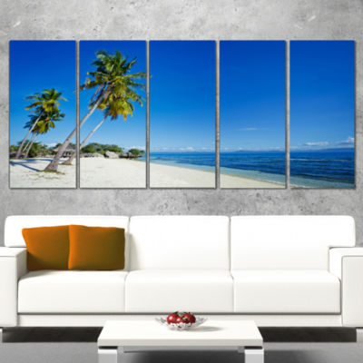 Designart Palms Bent To Beautiful Vacation Beach Modern Seascape Wrapped Canvas Artwork - 5 Panels
