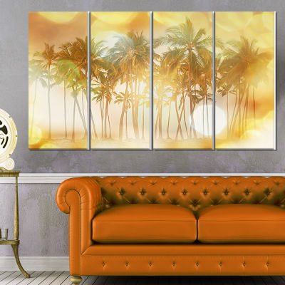 Designart Palms in Serene Tropical Beach LandscapeCanvas Art Print - 4 Panels