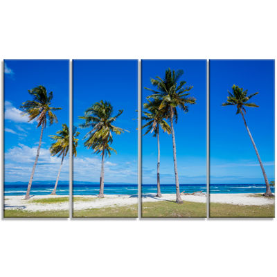 Designart Palms on Philippines Tropical Beach Modern Seascape Canvas Artwork - 4 Panels