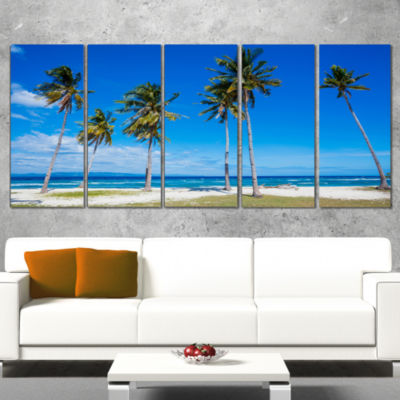 Designart Palms on Philippines Tropical Beach Modern Seascape Wrapped Canvas Artwork - 5 Panels