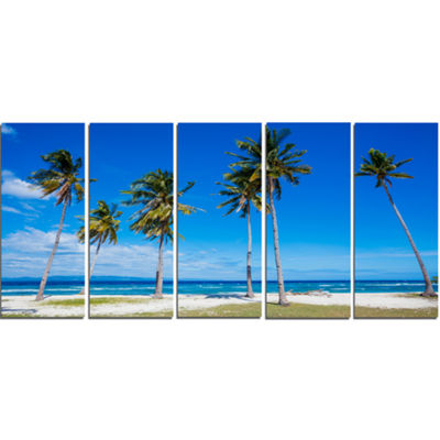 Designart Palms on Philippines Tropical Beach Modern Seascape Canvas Artwork - 5 Panels