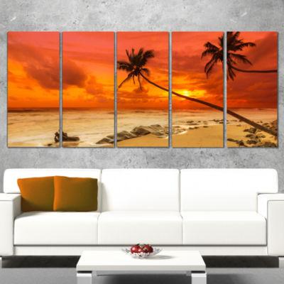 Designart Palms Silhouettes Bent To Seashore ExtraLarge Seashore Wrapped Canvas Art - 5 Panels