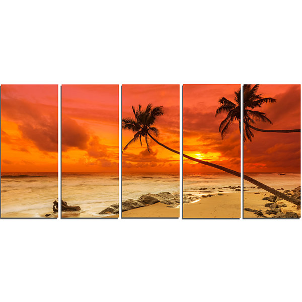Designart Palms Silhouettes Bent To Seashore ExtraLarge Seashore Canvas Art - 5 Panels