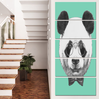 Panda With Glasses and Bow Tie Animal Canvas Art Print - 5 Panels