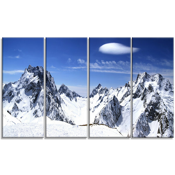 Designart Panorama Caucasus Mountains PhotographyCanvas ArtPrint - 4 Panels