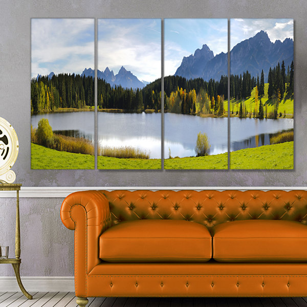 Designart Panorama Landscape in Bavaria Photography Canvas Art Print - 4 Panels
