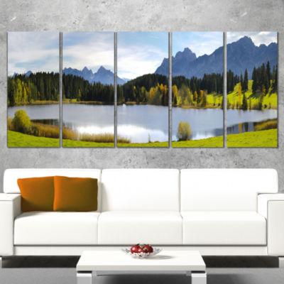 Designart Panorama Landscape in Bavaria Photography Canvas Art Print - 5 Panels
