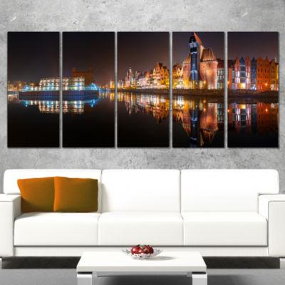 Designart Panorama of Gdansk Old Town Landscape PhotographyCanvas Print - 5 Panels
