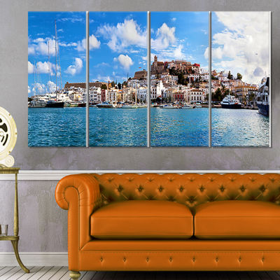 Designart Panorama of Ibiza Spain Cityscape PhotoCanvas ArtPrint - 4 Panels
