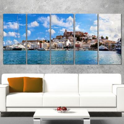 Designart Panorama of Ibiza Spain Cityscape PhotoCanvas ArtPrint - 5 Panels