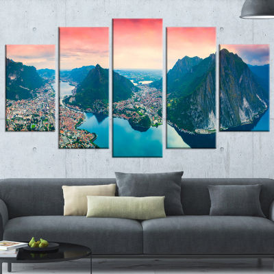 Designart Panorama of The City Lecco Landscape Photo CanvasArt Print - 5 Panels