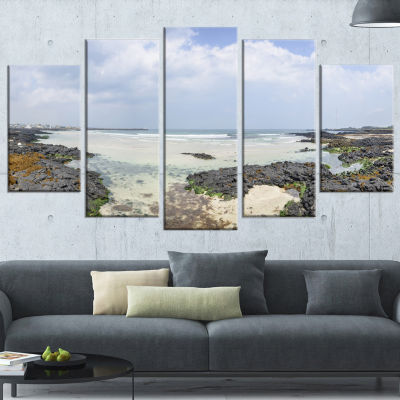 Panorama View of Woljeongri Beach Landscape Wrapped Canvas Art Print - 5 Panels
