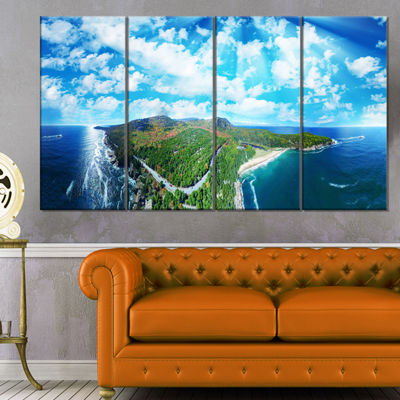 Designart Panoramic Acadia National Park LandscapePhotography Canvas Print - 4 Panels