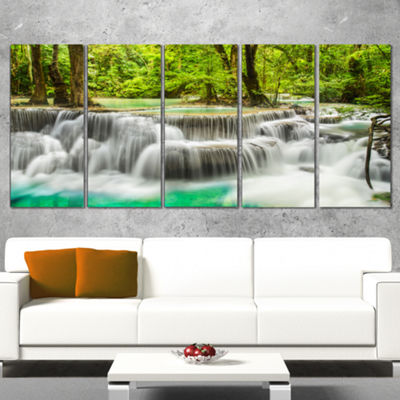 Designart Panoramic Erawan Waterfall Landscape Photography Canvas Print - 4 Panels