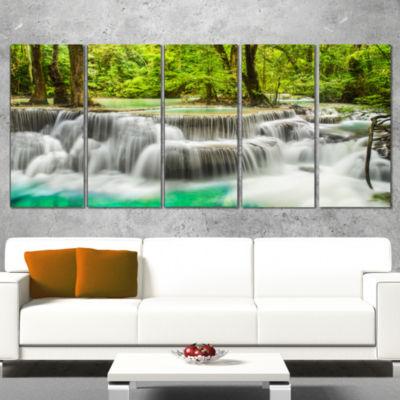 Panoramic Erawan Waterfall Landscape Photography Canvas Print - 5 Panels