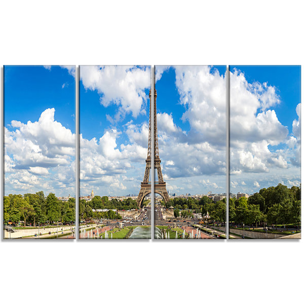 Designart Panoramic Paris Paris Eiffel TowerunderClouds Cityscape Canvas Print - 4 Panels