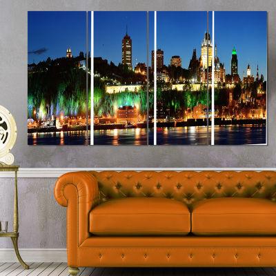 Designart Panoramic Quebec City At Night CityscapePhoto Canvas Print - 4 Panels