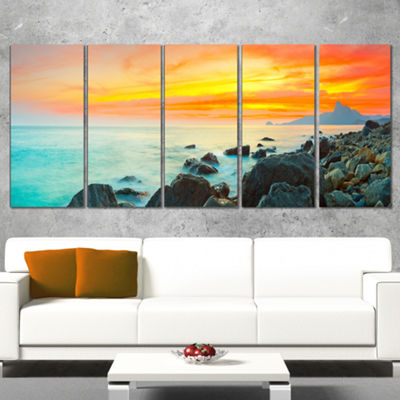 Designart Panoramic Sunset Photography Canvas ArtPrint - 4Panels