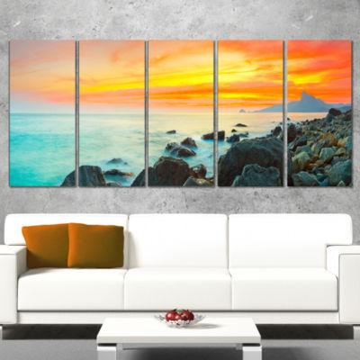 Panoramic Sunset Photography Canvas Art Print - 5Panels