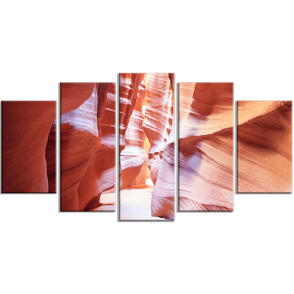 Panoramic View Antelope Canyon Large Landscape Photography Canvas Print - 5 Panels