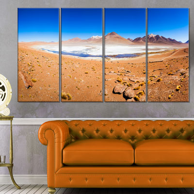 Designart Panoramic View of Laguna Honda Modern Seascape Canvas Artwork - 4 Panels