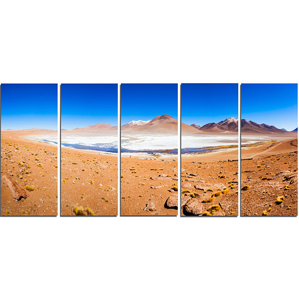 Designart Panoramic View of Laguna Honda Modern Seascape Canvas Artwork - 5 Panels