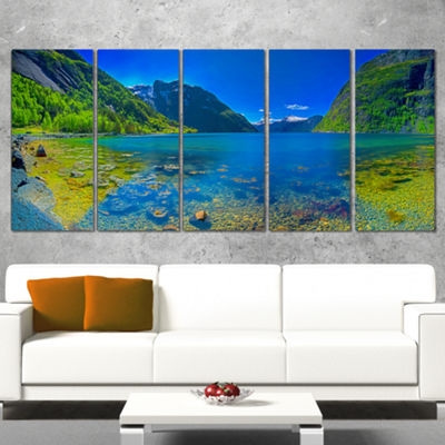 Designart Panoramic View of Norwegian Fjord Landscape CanvasArt Print - 4 Panels