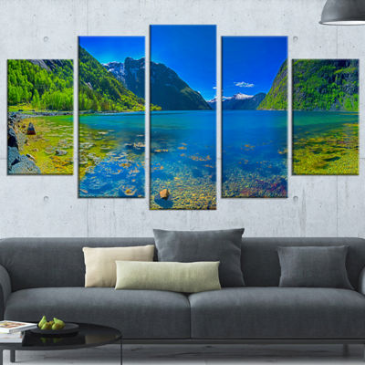 Designart Panoramic View of Norwegian Fjord Landscape Wrapped Canvas Art Print - 5 Panels