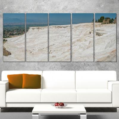 Designart Panoramic View of Pammukale Modern Seascape CanvasArtwork - 4 Panels