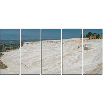 Panoramic View of Pammukale Modern Seascape CanvasArtwork - 5 Panels