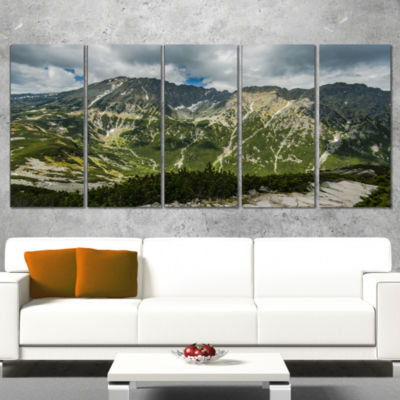 Panoramic Vista Over Mountains Landscape Canvas Art Print - 5 Panels